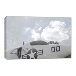 Doodlefish - Cockpit - The Aviator Collection of Vintage Military air plane photography from Doodlefish is perfect for a teen or tweens room. It would also be great for a basement space, playroom or office. This piece is a close up of the propellers of a US military plane and is available in16x24. The canvas printed artwork is gallery wrapped with areas of US maps showing through the image. Each piece can be hung in many combinations and orientations.