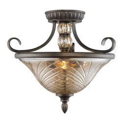 Golden Lighting - Golden Lighting 8118-SF BUS Alston Place Traditional Convertible Semi Flush Moun - Golden Lighting 8118-SF BUS Alston Place Traditional Convertible Semi Flush Mount Ceiling Light