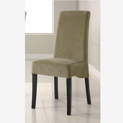 2 PC Modern Black Wood Dining Chair Green Fabric Seat Back 102062 - Features
