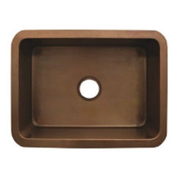 Whitehaus Collection - Smooth Bronze Whitehaus WH2519COUM Copper Rectangular Single Undermount Kitchen - The Whitehaus brand has revolutionized the popular classic material used in kitchens to better suit your modern-day needs, with its copper single bowl rectangular kitchen sink. Rest assured that this piece is made of quality and durable materials, molded by skilled craftsmen.