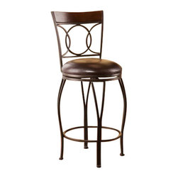 Holly and Martin - Granada Swivel Counter Stool - Add classic style and contemporary convenience to your home. The cast circles and curved legs of this counter stool create a sleek and sophisticated look. A powder-coated, dark champagne finish and durable steel frame deliver lasting quality. It features counter height seating, a cozy foam seat covered in rich dark brown vinyl, and a backrest accent in a rich walnut finish bentwood. A full 360 degree swivel and footrest ring provide comfort and ease. The curvaceous form and attractive finish coordinate with traditional to contemporary decor styles. Ideal for the kitchen, breakfast nook, island, or dining area. Please note: Our photos are as accurate as possible, but color discrepancies may occur between the product and your monitor. The handcrafted touch of artisan skill also creates variations in color, size, and design; slight differences should be expected.