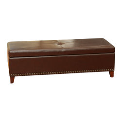 Great Deal Furniture - Charlize Light Brown Leather Storage Ottoman - The Charlize Storage Ottoman offers a sleek storage solution for any room in your home. The top easily props open to reveal a spacious interior for pillows, blankets, books, and more. The balanced design on the top of the ottoman shows a subtle attention to detail that can be expected throughout the entire piece.