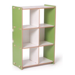 Quark Enterprises - 6 Cubby Shelf, Green/White - This piece would work well in a playroom or even a shared home office. The cubbies are perfect for organizing books, toys and special keepsakes. And you will love putting it together without any tools!