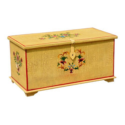 Sierra Living Concepts - Palisade Hand Painted Wood Storage Trunk - Subtle Yellow Mango Wood Storage Trunk. Completely handmade and hand painted.