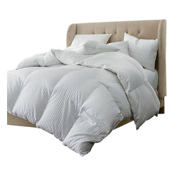 Bed Linens - Oversized 330 Thread Count All Season Stripe White Down Blend Comforter, Full/Qu - Thishypoallergenic down-blend comforter keeps you warm without weighing you down.Same great luxury as white goose down, but for a cheaper price! It's asuper-comfy way to enjoy the quality sleep you deserve. Use duvet covers tochange your look whenever you want. Made with 50% White Down & 50%Polyester.