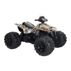 Surge - Surge Camo Mega Wheels Battery Powered Riding Toy Multicolor - 880209 - Shop for Tricycles and Riding Toys from Hayneedle.com! Teach kids to love the country life with the Surge Camo Mega Wheels Battery Powered Riding Toy. They'll be sneaking up on prey with the cool camo paint job and zooming at speeds up to 3 MPH with the 12 Volt electric motor. Oversized wheels help kids navigate bumpy terrain. Let everyone know they're coming with real quad sounds.About DynacraftEveryone at Dynacraft is committed to helping families bike smart and bike together. Based in American Canyon California Dynacraft is well known as an importer of affordable high quality bicycles for every member of the family. Dynacraft constantly keeps its eyes on both the future and our customers' ever changing needs. If it's not the latest in innovation and designed to the most exacting standards using top-of-the-line parts it's not Dynacraft.