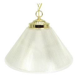 "NATIONAL BRAND ALTERNATIVE - PRISMATIC CONE ACRYLIC PENDANT - | Single Light Cone Prismatic Acrylic Shade with Polished Brass Trim | Uses One 60W Max. G40 Bulb (Not Included) | 14"" Diameter"