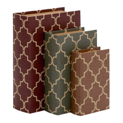 Stylish and Antique Themed Wood Vinyl Book Box, Set of 3 - Description:
