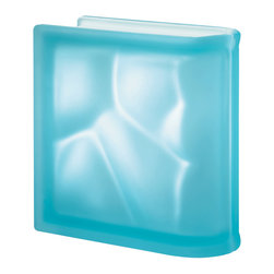 """Seves - End Linear Glass Block, Aquamarine, Wavy Satin - A new generation of glass block that features a """"Pegasus"""" winged block design technology allowing for uninterrupted glass surfaces without highly visible joints. Pegasus Pastel Colors present a full assortment of attractive hues for any design, interior or exterior, application."""