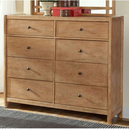 American Woodcrafters - Natural Elements 8 Drawer Dresser - Soft Driftwood Multicolor - AWR1026 - Shop for Dressers from Hayneedle.com! Add functional storage space and timeless beauty to your bedroom with the Natural Elements 8 Drawer Dresser - Soft Driftwood. Constructed of environmentally friendly plantation hardwoods and knotty oak veneers and finished in an unassuming neutral hue with an off-white glaze you ll appreciate the expert craftsmanship and thoughtful details. The eight roomy full-extension drawers at 14 inches deep for maximum storage space feature English dovetail joints roller ball bearing side guides to ensure smooth functioning and simple gunmetal knobs. The top drawers are lined in felt to keep all your items in place and the bottom drawers are dust-proofed for added protection. Add the optional vertical or horizontal mirror as the perfect complement to this stylish dresser. The mirrors feature matching wood construction and intersecting vertical and horizontal lines for a clean look. This dresser nests seamlessly with other 46-inch high matching pieces in the collection to suit your storage needs including the Natural Elements 4 Drawer Pier Nightstand - Soft Driftwood Natural Elements 3 Drawer Media Chest - Soft Driftwood and the Natural Elements 4 Drawer Chest - Soft Driftwood. Additional Information Landscape mirror dimensions: 46W x 1.5D x 32.25H in. Vertical mirror dimensions: 36.5W x 1.5D x 32.25H in. About American WoodcraftersFor unparalleled quality and value choose American Woodcrafters for your youth or master bedroom furniture. Founded in 1996 as a division of Rockford Capital Corporation and located in High Point N.C. American Woodcrafters is the brainchild of John N. Foster. His 40 years of experience in manufacturing marketing and product development inspire the company to deliver superior furniture designs of exceptional value. Each exquisite furniture piece is well-made and creatively styled with a fine quality finish and innovat