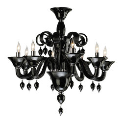 Kathy Kuo Home - Treviso Contemporary Black 8 Light Murano Glass Chandelier - Call it Modern Baroque, Eclectic Traditional, or Edgy Classic, this black glass chandelier makes a grand, stylish statement.  Drawing upon traditional influences, the beauty of black glass comes to life in its swirls, finials, and curves.