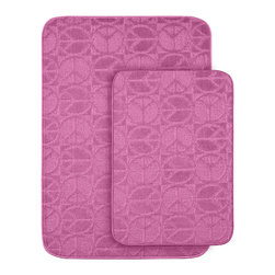None - Peace, Love & Pink Bath Rug Set of 2 - Protect young toes and add comfort to a child's or pre-teen's bath with these fun, durable and machine washable pink bath rugs. The polypropylene fabric is stain-resistant and soft, while the non-skid rubber backing holds rugs in place for safety.