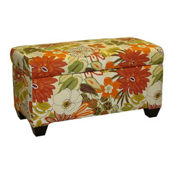 Lila Storage Bench - Let your home burst with color, not with clutter. The Lila Storage Bench brings both practical functionality and chic design to your home. Crafted out of solid wood with 100% cotton upholstery, store away your extra items in style.