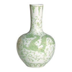 Belle & June - Celadon Dragon Lotus Globular Vase - Pottery doesn't get fresher than this. This boldly curving porcelain vase pairs the dramatic undulations of the most precious antiques with a wholly modern linear neck. Its stunning color and unique charm will make it the focal point of any room and a vivid addition to eclectic and modern households.