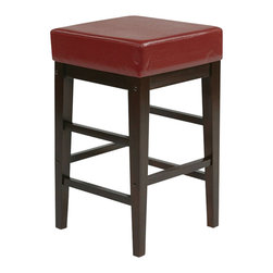 """Office Star - Office Star Metro Square Stool in Red-25"""" Height Barstool - Office Star - Bar Stools - ES25VS3RD - Need a little something to complete your dining style/look? This simple, yet stylish, barstool will be great to add to your dining room or kitchen. Ready to assemble when received."""