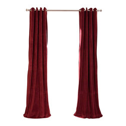 Exclusive Fabrics & Furnishings, LLC - Signature Burgundy Grommet Blackout Velvet Curtain - 100% Poly Velvet. Grommet. Plush Blackout Lining . Imported. Dry Clean Only.
