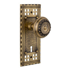 Nostalgic Warehouse - Nostalgic Craftsman Plate with Meadows Knob and Keyhole in Antique Brass - Inspired by the American Arts & Crafts movement of the early 1900s, the rugged design and hand-hammered details of the Craftsman Long Plate in antique brass emphasizes handwork over mass production. Add our Meadows Knob, with its captivating design, for a stylish and sleek look. All Nostalgic Warehouse knobs are mounted on a solid (not plated) forged brass base for durability and beauty.