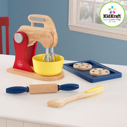 Kidkraft - Kids Primary Baking Set From Vistastores - Children often want to help their parents in the kitchen. With our new Primary Toaster Set your young helpers will be able to take care of the toast all on their own! The bright colors and rich details of this wooden 9-piece set are sure to keep imaginations running wild, 2 Slices of wooden toast, Stick of butter, Butter is held together by Velcro and can be pulled apart easily , No assembly required.