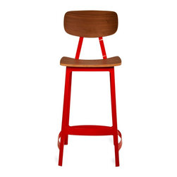 Habitus Bar Stool, Red - A modern design with a nod to the classic drafting designs of the 20th century, The Habitus Collection offers a comfortable seating solution for home and commercial environments.