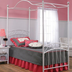 Emily Bed with Canopy - Emily bed set with canopy and rails has a pretty design that is perfect for the little girls room or guest bedroom.