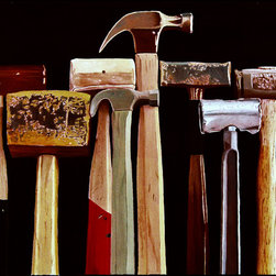 "Hammers Original Oil Painting - This is a photorealistic oil painting of several hammers. Also offered is a signed and numbered giclee reproduction on canvas which also comes ready-to-hang. The giclee is 10"" x 9"" and sells for $18 including shipping. Contact gallery directly to purchase."