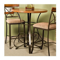 Powell Furniture - Hamilton Pub Table in Medium Cherry Finish - Includes top and base. Stools not included. Features an interesting curve and scroll designed bottom. The top is a sleek wood while the bottom is metal. Assembly required. 36 in. Dia. x 42 in. H