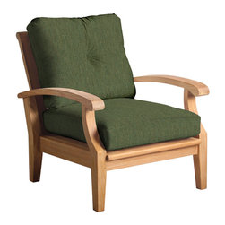 Douglas Nance - Set of 2, Douglas Nance Cayman Deep Seating Club Chairs, Fern - Douglas Nance Cayman has a distinctive casual flair with sumptuous cushions for premium relaxation. The cuts of teak are thick and solid yet the design curves offer a light, island feel. This collection also offers a loveseat and dining options. Includes made-to-order Sunbrella cushion.