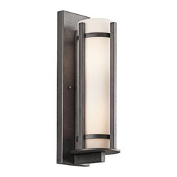 """Kichler - Kichler 49122AVI Camden 3 Light Outdoor Wall Sconce 49122AVI - Anvil Iron finish Etched opal diffuserBackplate Dimensions: 26"""" X 7"""" Bulb Included: No Bulb Type: A19 Collection: Camden Diffuser Description: Etched Opal Extension: 11"""" Finish: Anvil Iron Finish Group: Metallic Height: 26"""" Material: Steel, Glass Max Watt: 100W Number of Lights: 3 Socket 1 Base: Medium Socket 1 Max Wattage: 100 Style: Arts and Crafts Mission Type: Outdoor Lights UL Listed: Yes Weight: 18 LBS Width: 9"""""""