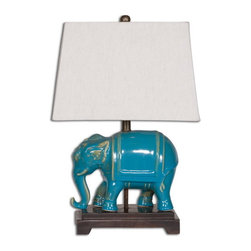 Uttermost - Uttermost 26210  Pradesh Blue Ceramic Table Lamp - Distressed blue ceramic accented with aged ivory undertones and solid mango wood details. the rectangle tapered hardback shade is a beige linen fabric.