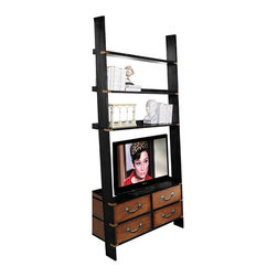 "Inviting Home - Gallery TV Ladder Cabinet - Leaner shelves for collectables books and 42"" flat screen TV; 17-3/4"" x 47-3/8"" x 96-1/2""H; A wall cabinet that combines many functions. Its wall-leaning design makes it less bulky and more elegant to the critical eye. Which counts in smaller spaces but still functions well in larger ones. Storage! Cabinet features shelves for collectables and books! And the main purpose... space for a 42"" flat screen TV. This brass bound multi-functional cabinet is built to last generations. The gallery ladder cabinet arrives in two easily assembled sections..."