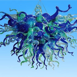 Belle Meade Hot Glass - Seaview Chandelier - This striking chandelier is shown in vibrant colors of Cobalt Blue, Emerald, and Aqua, reminding one of the high seas. In fact, similar chandeliers have been placed into spectacular waterfront homes. The individually hand blown glass pieces are a mixture of shapes found in nature: Pods, Horns and Gourds (see additional photo #2). Note- This is a representational item that can be commissioned. These designs are very diverse and can be custom made to fit any project. Other colors, sizes, and shapes are available so please call for more details. Allow us to help turn your vision into a reality. Note- This chandelier is lit from within the armature by easily replaceable 75 watt halogen bayonet bulbs. The lighting system is made from UL listed parts. Note- These chandeliers are suspended by a thin, high strength cable, the length of which must be specified when ordering. The weight for these chandeliers averages 30 pounds per 50 pieces. Due to the many different styles and types available, a ceiling canopy is not provided but can easily be obtained through your electrician. Note- If this item will be viewed from above, such as in a stairwell, the top will need additional pieces covering the armature at additional cost. Please call us for a price quote and specify this when ordering.  LED and Compact Fluorescent lighting are both available. Call for details.  Please note that the price listed pertains to a fixture that will appear very similar to the light shown in the featured photograph and as outlined in the accompanying description.  Virtually all of our artisan crafted fixtures can be customized regarding size, shape, and / or color(s).  Please call for details.