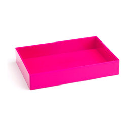 Poppin - Accessory Tray, Pink - When it comes to organizing, don't head for the straight and narrow. Become an accessory to wild style with this tray on your desk, vanity or closet shelf. It measures 9 3/4 by 6 3/4 by 1 1/2 inches and is finished in your choice of eye-popping colors in a lacquer-like finish.