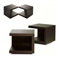Modloft - Modloft | Ludlow Nightstand, Set of 2 - Design by Modloft. The Ludlow Nightstand is a cube side table featuring an open frame creating floor and top shelf levels. The versatile Ludlow Nightstand can also be used as living room end tables, and can be turned in multiple directions to create unique arrangements. Coordinates with the Ludlow Bed and Ludlow Dresser, each sold separately. Available in your choice of wood finish. Sold as a set of 2.