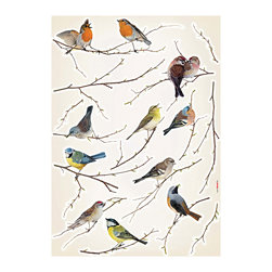 """Komar Living - Birds Wall Decals - These appliques are so lovely! Featuring beautiful realistic and adorable birds in various stages of singing to each other, cuddling as love birds, or just posing pretty, these wall decals are anchored by attractive branches that can be arranged together. Each pack contains a 19"""" x 27"""" sheet and comes with 15 total pieces. Imported from Germany"""