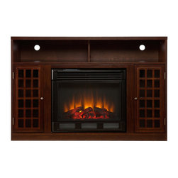 "Holly & Martin - Holly & Martin Akita Media Electric Fireplace, Espresso, 48""w X 16.25""d X 32.5""h - Contemporary styling, modern conveniences and the relaxing glow of fire are all combined into this luxurious piece. Finished with a rich espresso stain, the firebox itself is framed in by a cabinet with an adjustable shelf on each side. Above is an open shelf, divided in two by the center support structure. The open shelf includes two rear openings, one in each section, for cord management making it ideal for all of your media equipment or game consoles. Portability and ease of assembly are just two of the reasons why our fireplace mantels are perfect for your home. Requiring no electrician or contractor for installation allows instant remodeling without the usual mess or expense. Use this great functional fireplace to make your home a more welcoming environment."