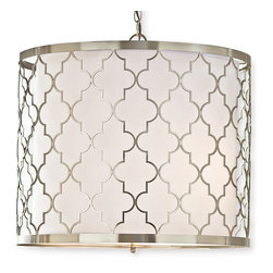 Kathy Kuo Home - Fontaine Hollywood Regency Silver Nickel Pattern Pendant Light - The ancient symbol of the quatrefoil takes shape in brilliant, brushed nickel around this frosted white drum. Hanging from a polished, silver chain, the pendant is adjustable to the perfect height. The elegant, eclectic lamp extends a warm welcome to your home.