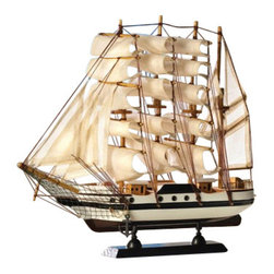 "Malibu Creations - Classic Wooden Barque Ship Model - Let your imagination sail as you take in the finely crafted beauty of this wooden Barque ship. The design of this black and white ship spares no detail and its billowing cotton sails will capture your seafaring daydreams. The elegant black base will aptly dock this model ship on your desk or mantel. Your thoughts will gladly sail away on smooth waters as you gaze upon this beauty perched on your mantel or bookshelf.    * Dimensions: 13"" x 2"" H: 12""  * Materials: wood and cotton"