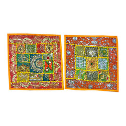 Mogul Interior - Indian Cushion Cover Embroidered Pillowcases Throw, Set of 2 - The ethnic combination of gujrati sequin embroidery and stunning vibrant colors, sari tapestry patchwork and sequin embroidered that shows India's rich cultural heritage.