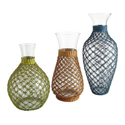 Sea Grass Netting Glass Vases - Fill glass containers with shells, rocks or aged glass to bring the outdoors in.
