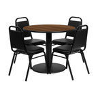 Flash Furniture - Flash Furniture Restaurant Furniture Table and Chairs X-GG-4001BRSR - 36'' Round Walnut Laminate Table Set with 4 Black Trapezoidal Back Banquet Chairs [RSRB1004-GG]