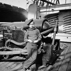 Powder Monkey by Gun of U.S.S. New Hampshire Print - Powder Monkey by Gun of U.S.S. New Hampshire off Charleston, S.C. Created between 1864 and 1865 on a glass plate negative, stereo-graph. On wet plate collodion. Photographs of the Federal Navy, and seaborne expeditions against the Atlantic Coast of the Confederacy - the Federal Navy, 1861-1865.