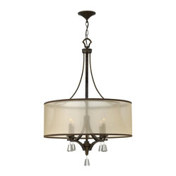 Fredrick Ramond - Fredrick Ramond-FR45604FBZ-Mime - Four Light Chandelier - This elegant collection in our Brushed Nickel and French Bronze finish features a sheer translucent double hardback shade and tapered square crystal a
