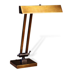 Kathy Kuo Home - Hevener Hollywood Regency Antique Brass Banker's Table Lamp - There's a reason this retro desk lamp never goes out of style. Marrying form and function, the antique brass, streamlined structure is a staple for students, teachers and anyone needing reading or working light at a desk or drafting table.