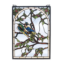 """Meyda - 14""""W X 20""""H Lovebirds Stained Glass Window - A meyda original a pair of teal and sapphirelovebirds nest on branches of bark brown with pinkblossoms and jade leaves. Handcrafted utilizing the copper foil construction process and 398 pieces ofstained art glass encased in a solid brass frame, eachwindow is a unique creation to be forever treasured.mounting bracket and jack chain included"""
