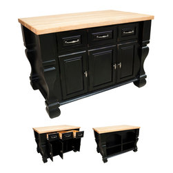 Hardware Resources - Lyn Design ISL01 Kitchen Island, Distressed Black - If you're someone who doesn't like to show all your kitchen clutter, but want a place to organize it in a jiffy, imagine the help of this sturdy and spacious kitchen island. Easy to assemble, attractive and functional — what more do you need in this classic kitchen essential?