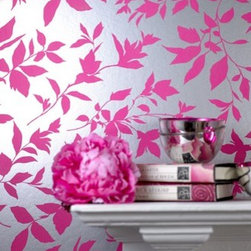 Midsummer Pink Floral Wallpaper - If you want a really girly powder room, how about a silver and ...
