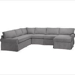"""PB Basic Left 4-Piece Chaise Sectional Slipcover, Textured Basketweave Metal Gra - Designed exclusively for our PB Basic Sectional, these easy-care slipcovers have a casual drape, retain their smooth fit, and remove easily for cleaning. Select """"Living Room"""" in our {{link path='http://potterybarn.icovia.com/icovia.aspx' class='popup' width='900' height='700'}}Room Planner{{/link}} to select a configuration that's ideal for your space. This item can also be customized with your choice of over {{link path='pages/popups/fab_leather_popup.html' class='popup' width='720' height='800'}}80 custom fabrics and colors{{/link}}. For details and pricing on custom fabrics, please call us at 1.800.840.3658 or click Live Help. All slipcover fabrics are hand selected for softness, quality and durability. {{link path='pages/popups/sectionalsheet.html' class='popup' width='720' height='800'}}Left-arm or right-arm configuration{{/link}} is determined by the location of the arm on the love seat as you face the piece. This is a special-order item and ships directly from the manufacturer. To view our order and return policy, click on the Shipping Info tab above."""