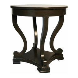 NOIR - NOIR Furniture - Bilbao Round End Table - GTAB225, Distressed Brown - Featuring natural, simple and classic designs, Noir products supply a timeless complement to a variety of interiors. An intricate design is disguised by simple lines in the Bilbao round end table. Graceful and grand, the cabriole legs end in a scroll, resting on a solid ledge that adds presence and stability. The Distressed Brown lacquer finish provides antique appeal to its handmade birch wood frame.