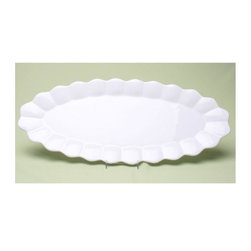 Tag Everyday - Flea Market Fish Platter in White - Hand washable. Piece has a unique detailed edge. Made from earthenware with a shiny glazed finish. 23 in. L x 9.88 in. WTag's flea market collection inspired from 18th and 19th century European dinnerware found in the famous pairs Marche Des Puces(Paris flea market), our line of updated and generously sized serveware is the perfect collection to mix and match with current tabletop favorites. Great basic accent piece for year round entertaining and dining.