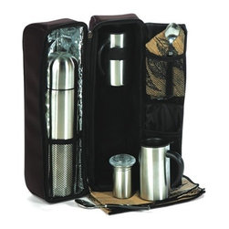 """Picnic Plus - Cafe Chalet, Black - Picnic Plus Cafe Chalet Travel Mug & Thermos Coffee Set, Black. Color/Design: Black; Includes a .75L double wall insulated stainless steel vacuum flask; 2 stainless steel travel mugs with lids; Cream/sugar container and cotton napkins. Dimensions: 7 1/2""""W x 4""""D x 14""""H"""